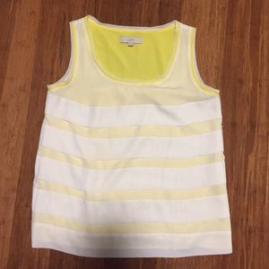 Loft Yellow Lined Tiered Tank Top